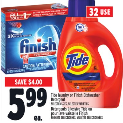 Tide Laundry or Finish Dishwasher Detergent