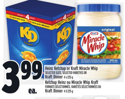 Heinz Ketchup or Kraft Miracle Whip Selected Sizes - Selected Varieties Or Kraft Dinner 4 X 225 g
