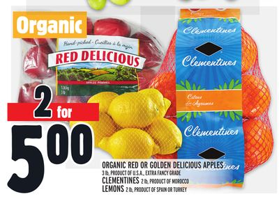 Organic Red Or Golden Delicious Apples 3 Lb - Product Of U.S.A. - Extra Fancy Grade Clementines 2 Lb - Product Of Morocco Lemons 2 Lb - Product Of Spain Or Turkey