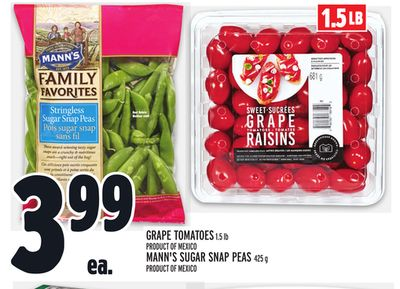 Grape Tomatoes 1.5 Lb Product Of Mexico - Mann's Sugar Snap Peas 425 g Product Of Mexico