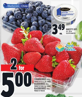 Strawberries 454 g Product Of U.S.A. - No. 1 Grade Blueberries 170 g Product Of Chile - No. 1 Grade Blackberries 170 g Product Of Mexico