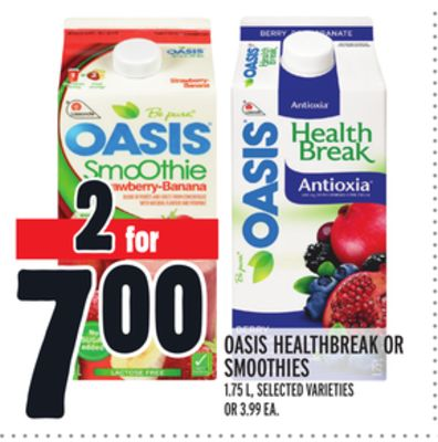 Oasis Healthbreak Or Smoothies