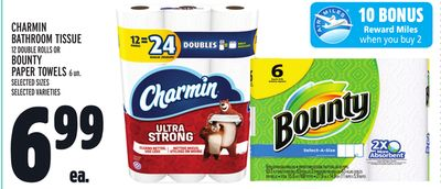 Charmin Bathroom Tissue 12 Double Rolls Or Bounty Paper Towels 6 Un.