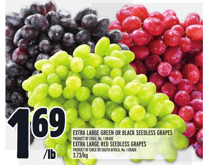 Extra Large Green Or Black Seedless Grapes Product Of Chile - No. 1 Grade Extra Large Red Seedless Grapes Product Of Chile Or South Africa - No. 1 Grade 3.73/kg