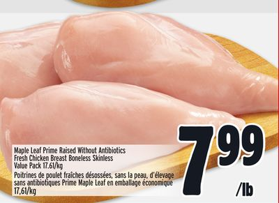 Maple Leaf Prime Raised Without Antibiotics Fresh Chicken Breast Boneless Skinless Value Pack