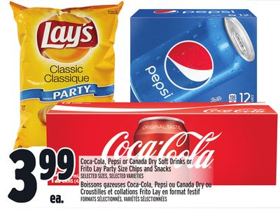 Coca-cola - Pepsi or Canada Dry Soft Drinks or Frito Lay Party Size Chips and Snacks
