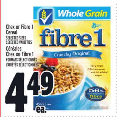 Chex or Fibre 1 Cereal