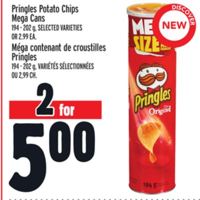 Pringles Potato Chips Mega Cans