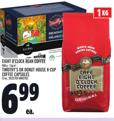 Eight O'clock Bean Coffee 900 g - 1 Kg or Timothy's Or Donut House K-cup Coffee Capsules 12 Un