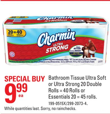 Bathroom Tissue Ultra Soft or Ultra Strong 20 Double Rolls = 40 Rolls or Essentials 20 = 45 Rolls