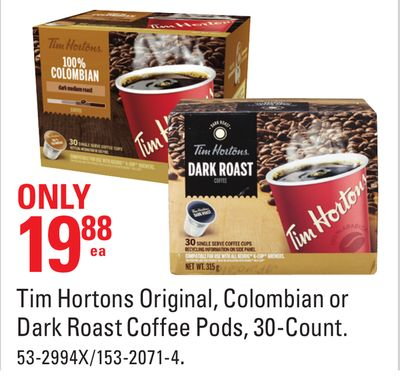 Tim Hortons Original - Colombian or Dark Roast Coffee Pods - 30-count