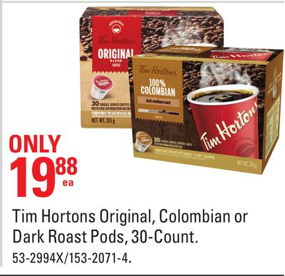 Tim Hortons Original - Colombian or Dark Roast Pods - 30-count