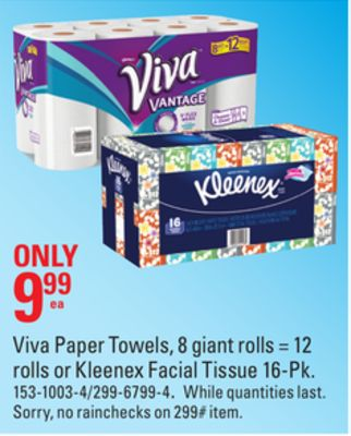 Viva Paper Towels - 8 Giant Rolls = 12 Rolls or Kleenex Facial Tissue 16-pk