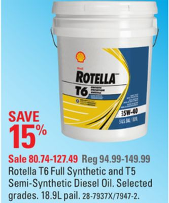Rotella T6 Full Synthetic and T5 Semi-synthetic Diesel Oil