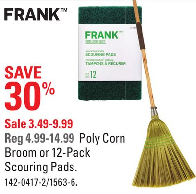 Frank Poly Corn Broom or 12-pack Scouring Pads