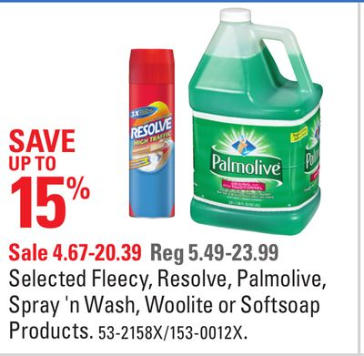 Selected Fleecy - Resolve - Palmolive - Spray 'N Wash - Woolite or Softsoap Products