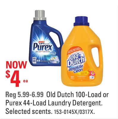 Old Dutch 100-load or Purex 44-load Laundry Detergent