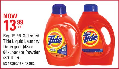 Tide Liquid Laundry Detergent (48 or 64-load) or Powder (80-use)