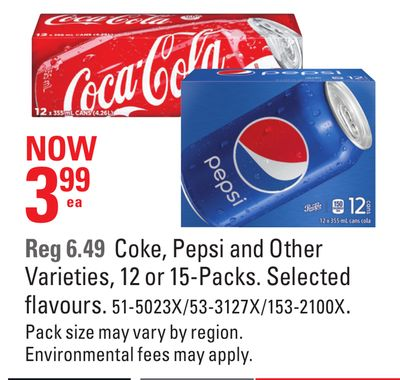 Coke - Pepsi and Other Varieties - 12 or 15-packs