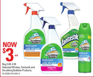 Selected Windex - Fantastik and Scrubbing Bubbles Products