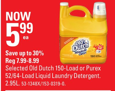 Selected Old Dutch 150-load or Purex 52/64-load Liquid Laundry Detergent