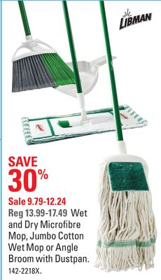 Libman Wet and Dry Microfibre Mop - Jumbo Cotton Wet Mop or Angle Broom With Dustpan