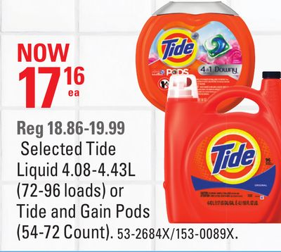 Selected Tide Liquid 4.08-4.43l (72-96 Loads) or Tide and Gain Pods (54-72 Count)