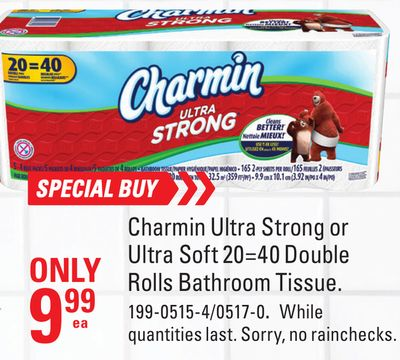 Charmin Ultra Strong or Ultra Soft 20=40 Double Rolls Bathroom Tissue