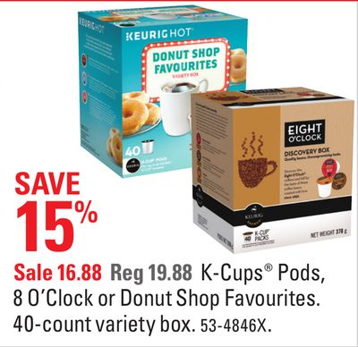 K-cups Pods - 8 O'clock or Donut Shop Favourites