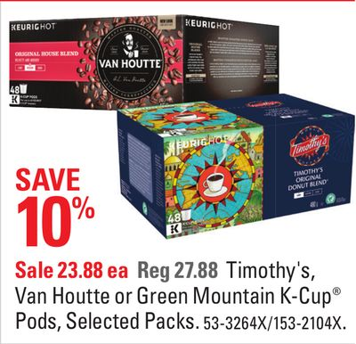 Timothy's - Van Houtte or Green Mountain K-cup Pods - Selected Packs