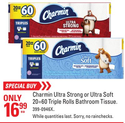 Charmin Ultra Strong or Ultra Soft 20=60 Triple Rolls Bathroom Tissue