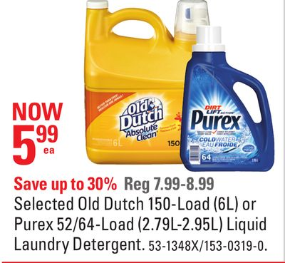 Selected Old Dutch 150-load (6l) or Purex 52/64-load (2.79l-2.95l) Liquid Laundry Detergent