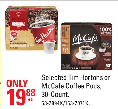 Selected Tim Hortons or Mccafe Coffee Pods - 30-count