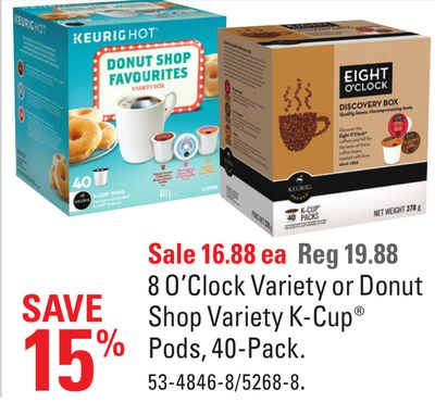 8 O'clock Variety or Donut Shop Variety K-cup Pods - 40-pack