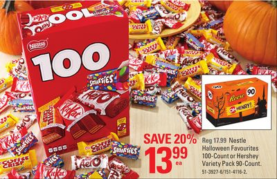 Nestle Halloween Favourites 100-count or Hershey Variety Pack 90-count