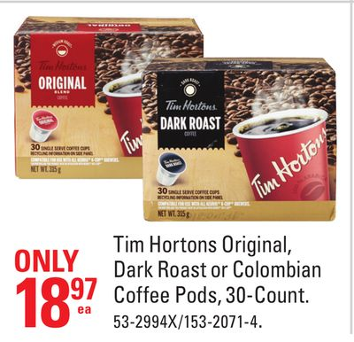 Tim Hortons Original - Dark Roast or Colombian Coffee Pods - 30-count