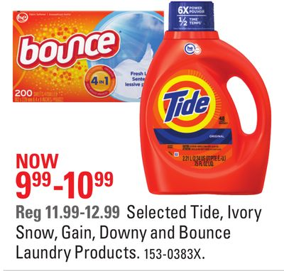 Selected Tide - Ivory Snow - Gain - Downy and Bounce Laundry Products