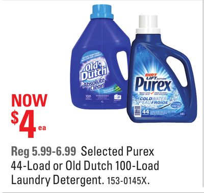 Selected Purex 44-load or Old Dutch 100-load Laundry Detergent