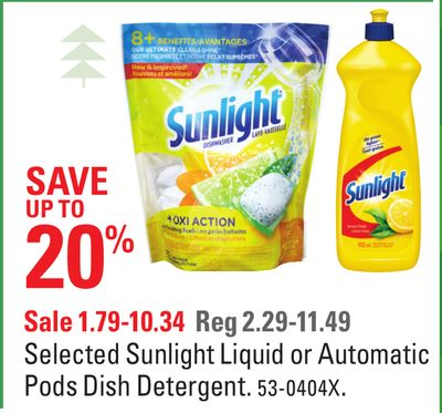 Selected Sunlight Liquid or Automatic Pods Dish Detergent
