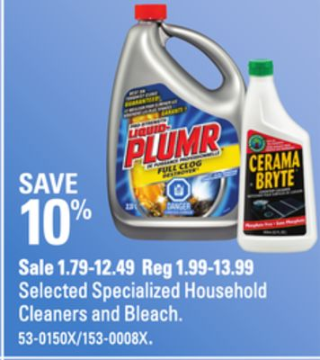 Selected Specialized Household Cleaners and Bleach