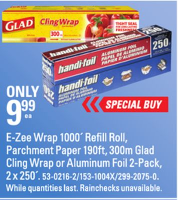 E-zee Wrap 1000´ Refill Roll - Parchment Paper 190ft - 300m Glad Cling Wrap or Aluminum Foil 2-pack - 2 X 250´