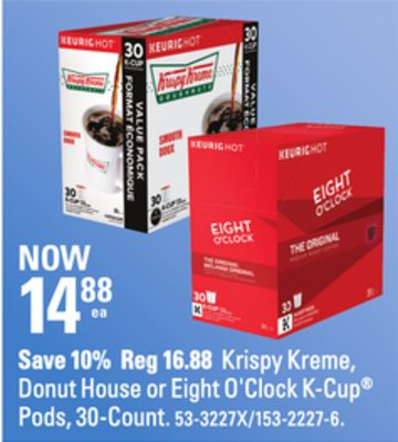 Krispy Kreme - Donut House or Eight O'clock K-cup Pods - 30-count
