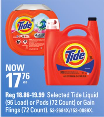 Selected Tide Liquid (96 Load) or Pods (72 Count) or Gain Flings (72 Count)