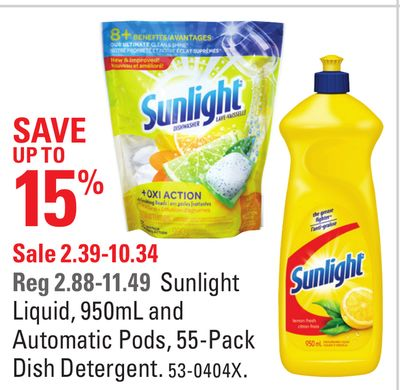 Sunlight Liquid - 950ml and Automatic Pods - 55-pack Dish Detergent