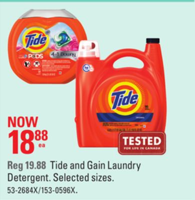 Tide and Gain Laundry Detergent