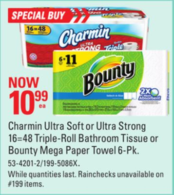 Charmin Ultra Soft or Ultra Strong 16=48 Triple-roll Bathroom Tissue or Bounty Mega Paper Towel 6-pk