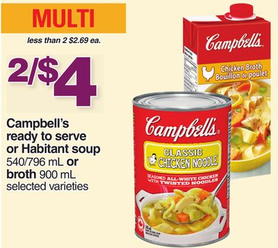 Campbell's Ready To Serve Or Habitant Soup - 540/796 Ml Or Broth - 900 Ml