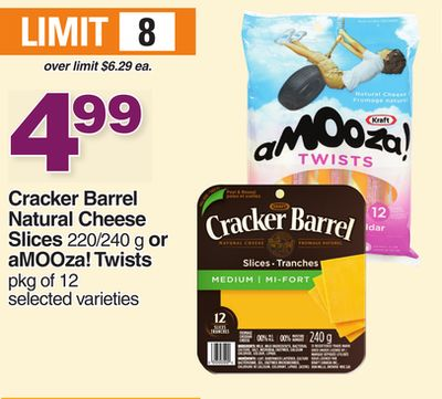 Cracker Barrel Natural Cheese Slices - 220/240 G Or Amooza! Twists - Pkg Of 12