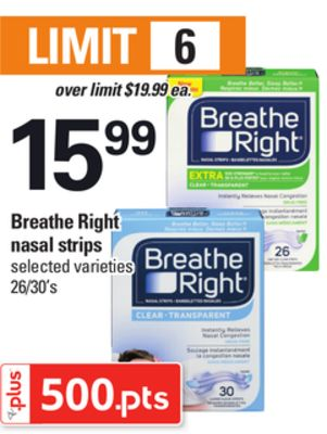 Breathe Right Nasal Strips - 26/30's