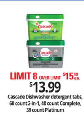 Cascade Dishwasher Detergent Tabs - 60 Count 2-in-1 - 48 Count Complete - 39 Count Platinum